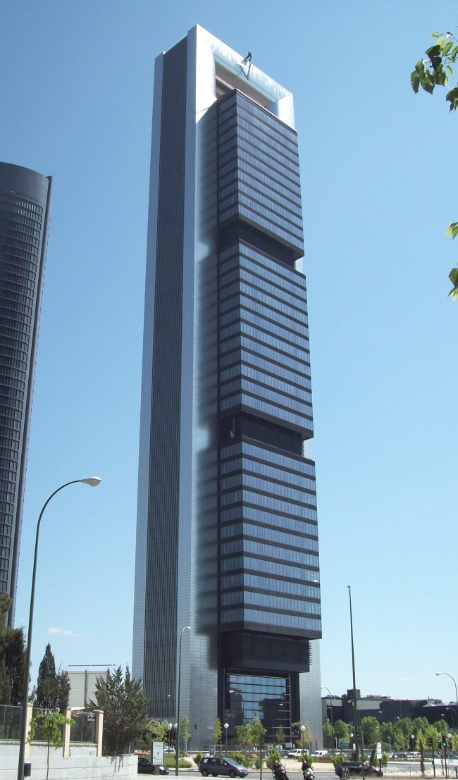 View of Torre Caja Madrid (in Cuatro Torres Business Area, Madrid, Spain) from the south-west angle. Designed by Norman Foster and built from 2004 to 2008.