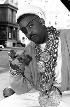 Hip-Hop Legend & Icon Slick Rick pictured with mountains of jewelry circa 1988-1990