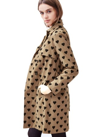 heart print trench coat