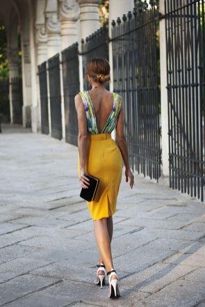 deep v back pencil skirt