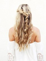 undone half up braid