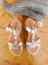 silver sandals with non-slip sole
