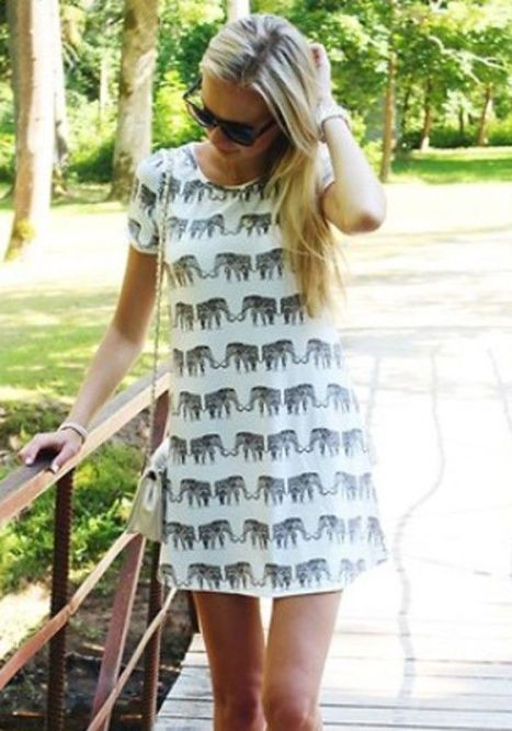 elephant print short sleeve loose polyester t-shirt