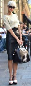 Paris fashion week, leather skirt with crop top sweater
