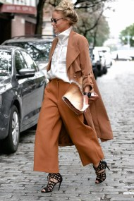 camel culotte and trench coat