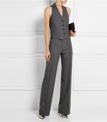pallas pinstriped wool vest and machaivel pinstriped wool flared pants
