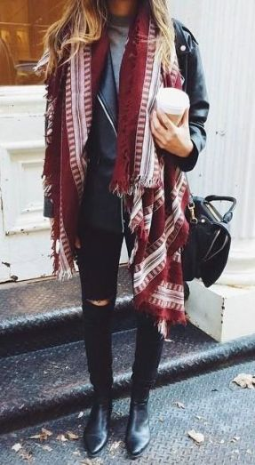 street-style-red-scarf-leather