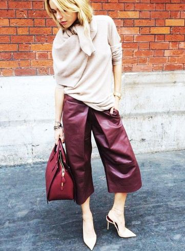 burgundy leather culotte