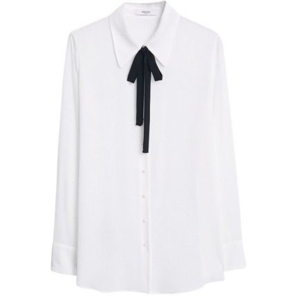 mango contrast tie-neck blouse natural white