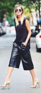 zara black leather culotte
