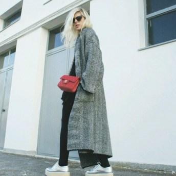 chanel bag long grey coat