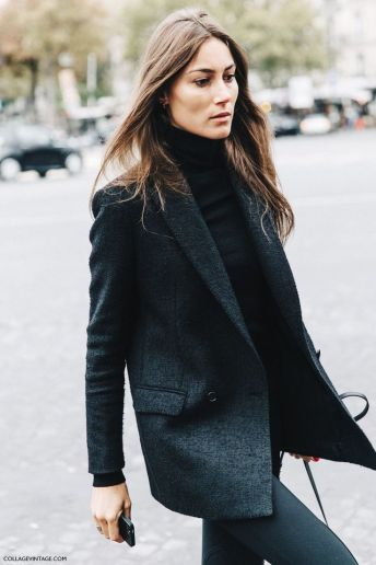 turtleneck with grey long blazer