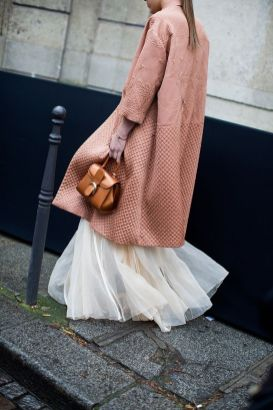 long tulle skirt with a long coat