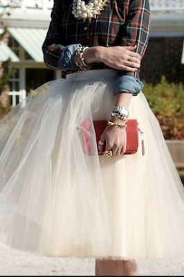 tulle skirt and plaid