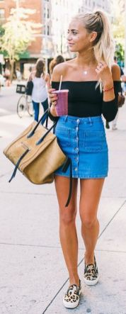 buttoned denim skirt with off the shoulder