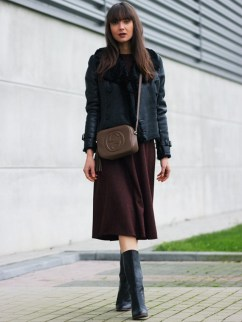 midi skirt with mid-length boots