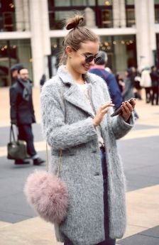 pom pom bag, wool coat