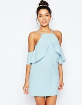 asos cold shoulder ruffle crepe mini dress