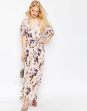 asos pleated maxi dress with floral print