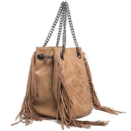 camel shoulder suede bag with fringe