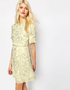 needle and thread linear embellished shift dress