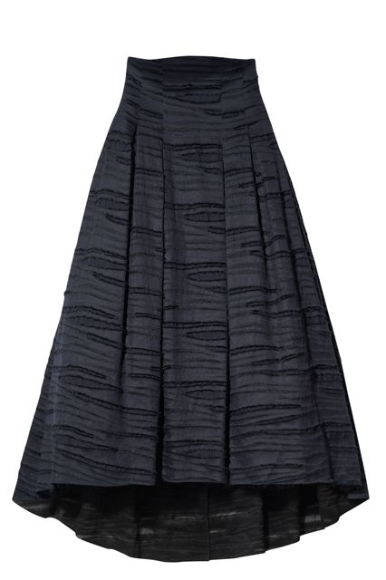 linen silk blend long skirt