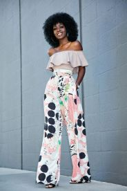 off the shoulder blouse with high waist printed pants