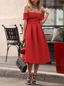 red short sleeve shoulder dress
