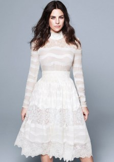silk blend blouse in lace and silk blend skirt in white lace