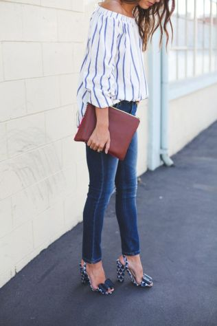 stripes top, geometrical pattern heels