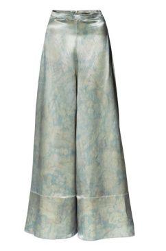 wide cut silk blent pants