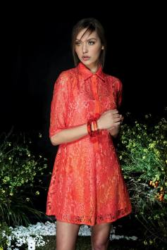 coral lace dress manolo