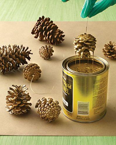 pine cones in gold
