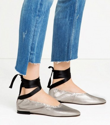 zara lace up leather ballet flats