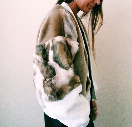 faux fur bomber jacket