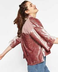 zara short velvet jacket