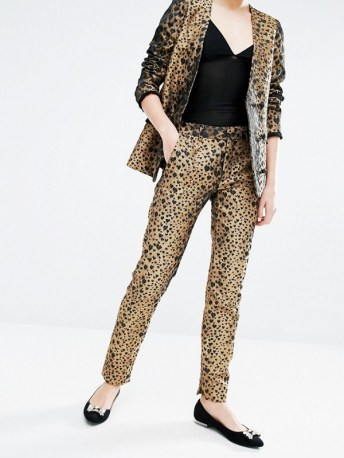 sister jane skinny trousers in heart leipard print co ord