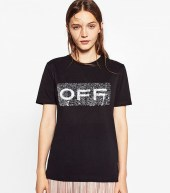zara t shirt with sequins and slogan