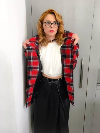 plaid-coat-a-line-leather-skirt