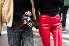 mini bags and red pants