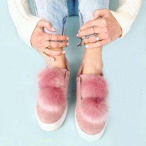 pom pom sneakers suede
