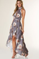 CHIFFON SLEEVELESS DRESS HALTER