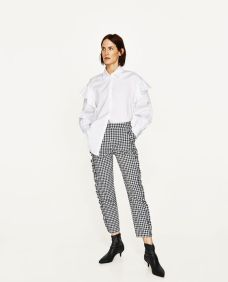 gingham trousers zara