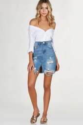 hi rise denim skirt with trendy distressing and center slit