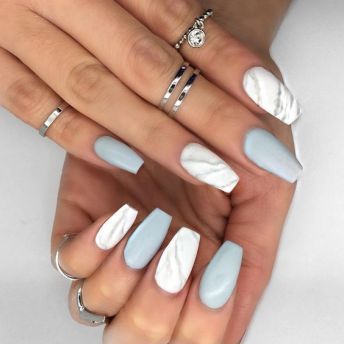 marble and matte nails