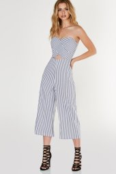 off shoulder jumpsuit with nautical stropes