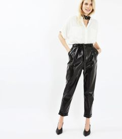 topshop cracked vinyl peg trousers