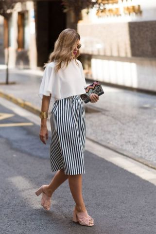 mules skin color with striped culotte