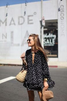 polka dot print and straw bag