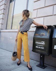 mustard pants and plaid shirt